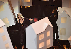 Katy Perry with Skip Marley on stage at the BRIT Awards 2017, held at The O2 Arena, in London.<br /><br />Picture date Tuesday February 22, 2017. Picture credit should read Matt Crossick/ EMPICS Entertainment. Editorial Use Only - No Merchandise.