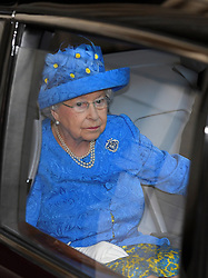 Queen Elizabeth II leaving after the State Opening of Parliament in the House of Lords at the Palace of Westminster in London.