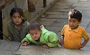 Children at Chomrong (or Chhomrong / Chhomrung, 7250 feet elevation) in the Annapurna Range of Nepal.