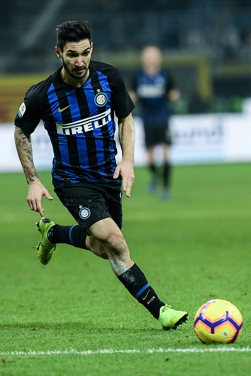 Forward Matteo Politano (Inter) controls the ball during the Serie A football match, Inter Milan vs Udinese Calcio at San Siro Meazza Stadium in Milan, Italy on 15 December 2018