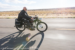 Chopper Dave Monson of California riding his 1914 Harley-Davidson out of Page, Arizona on the Motorcycle Cannonball Race of the Century. Stage-12 ride from Page, AZ to Williams, AZ. USA. Thursday September 22, 2016. Photography ©2016 Michael Lichter.