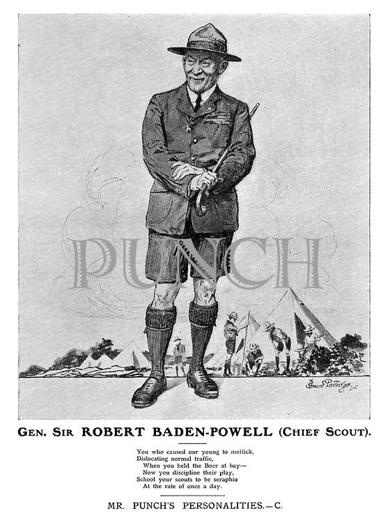 Gen. Sir Robert Baden-Powell (Chief Scout). Mr Punch's Personalities. - C.