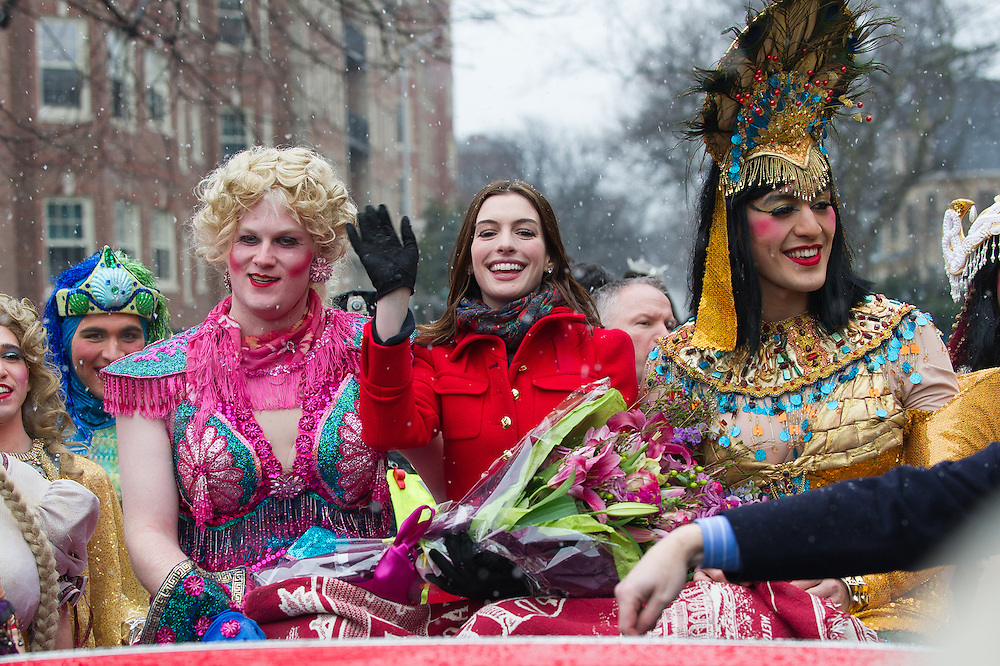 """Anne Hathaway during the """"Woman of the Year"""" Hasty Pudding parade in Boston, MA."""