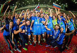 Slovenia celebrate at trophy ceremony after placed 2nd after volleyball match between National teams of Slovenia and France at Final match of 2015 CEV Volleyball European Championship - Men, on October 18, 2015 in Arena Armeec, Sofia, Bulgaria. Photo by Vid Ponikvar / Sportida