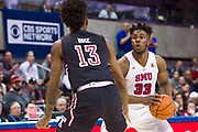 DALLAS, TX - JANUARY 04:  Semi Ojeleye #33 of the SMU Mustangs drives to the basket against Quinton Rose #13 of the Temple Owls during a basketball game on January 4, 2017 at Moody Coliseum in Dallas, Texas.  (Photo by Cooper Neill/Getty Images) *** Local Caption *** Semi Ojeleye; Quinton Rose