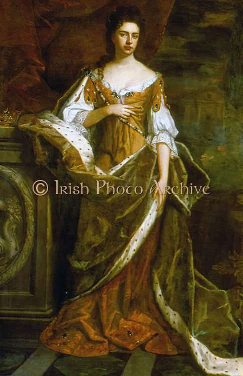 Mary II (1662-1694), elder daughter of James II, queen of Great Britain and Ireland from 1689 as joint monarch with her husband William III. After portrait by William Wissing.
