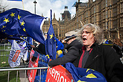Anti Brexit, Remain demonstrators protest with flags in Westminster on the day after the 'meaningful vote' when MPs again rejected the Prime Minister's Brexit Withdrawal Agreement and before a vote on removing the possibility of a No Deal Brexit on 13th March 2019 in London, England, United Kingdom. With just over two weeks until the UK is supposed to be leaving the European Union, the final result still hangs in the balance.