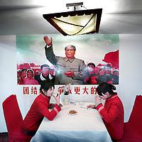 China, Changsa,7-7-2008. .Mao-Route..Een aan Mao Zudong gewijd restaurant in de hoofdstad van de provincie Hunan.