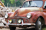 an old rusty red collectors car Morris Minor from the 1950s 50s Bodega Vinos Finos H Stagnari Winery, La Puebla, La Paz, Canelones, Montevideo, Uruguay, South America