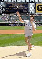 """CHICAGO - JULY 06:  Actor Ryan McPartlin, star of the television series """"Chuck"""", throws out a ceremonial first pitch prior to the game between the Chicago White Sox and Kansas City Royals on July 6, 2011 at U.S. Cellular Field in Chicago, Illinois.  The Royals defeated the White Sox 4-1.  (Photo by Ron Vesely/MLB Photos via Getty Images)  *** Local Caption *** Ryan McPartlin"""