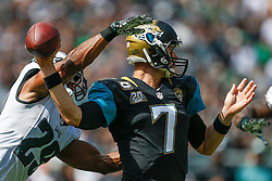 Philadelphia Eagles strong safety Nate Allen #29 forces a fumble from Jacksonville Jaguars quarterback Chad Henne #7 during the NFL Game between The Jacksonville Jaguars and the Philadelphia Eagles at Lincoln Financial Field in Philadelphia on Sunday September 7th 2014. The Eagles won 34-17. (Brian Garfinkel/Philadelphia Eagles)