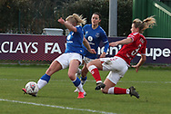GOAL Everton women midfielder Issy Christiansen (8) has a shot and scores during the FA Women's Super League match between Everton Women and Bristol City Women at the Select Security Stadium, Halton, United Kingdom on 17 January 2021.