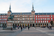 Plaza Mayor, Madrid, Spain Equestrian statue of King Philip III in the centre