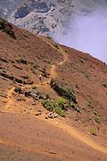 Hikers on the Sliding Sands Trail in Haleakala Crater, Haleakala National Park, Maui, Hawaii