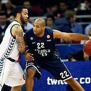 Anadolu Efes's Alfred Jamon Lucas (R) during their Euroleague Top 16 game13 basketball match Anadolu Efes between Unicaja Malaga at the Abdi Ipekci Arena in Istanbul at Turkey on Thursday, March, 28, 2013. Photo by Aykut AKICI/TURKPIX