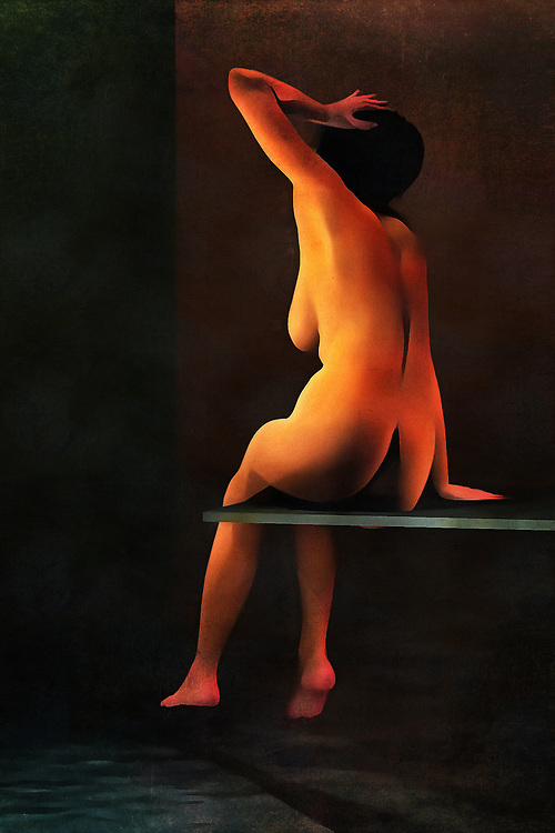 A nude woman sits on a diving board, which rests above a swimming pool. She has a hand to her head, although we can't say why. Her nude form sits on the board, and she is clearly looking at something beyond the water. This woman is paying attention to something. When the moment has passed, we can imagine that she's going to get in the water. It is likely a beautiful day, or perhaps the swimming pool is indoors. Regardless, we appreciate the attention to detail and uniqueness of the human form in this piece, available in the form of wall art. .<br /> <br /> BUY THIS PRINT AT<br /> <br /> FINE ART AMERICA<br /> ENGLISH<br /> https://janke.pixels.com/featured/a-la-piscine-jan-keteleer.html<br /> <br /> <br /> WADM / OH MY PRINTS<br /> DUTCH / FRENCH / GERMAN<br /> https://www.werkaandemuur.nl/nl/shopwerk/Naakte-vrouw---Naakte-vrouw-aan-het-zwembad/444060/134