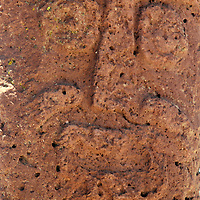 South America, Bolivia, Tiwanaku. Face of Bearded Monolith at Pre-Columbian archaeological site of Tiwanaku, a UNESCO World Heritage Site.