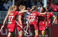 ANTWERP -   Celebration of Belgium after Stephanie vanden Borre (m) has scores during  the hockeymatch  Italy and Belgium for the 7th place .  right Anouk Raes WSP COPYRIGHT KOEN SUYK