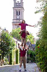 Pictured: Performers Luke Chadwick-Jones (moustache), Eric Mitchell and Raf Shah (long hair)<br /><br />Mixing personal chemistry and humour with skills in parkour, b-boying, tricking, hand-to-hand acrobatics, Cyr wheel and more, BROMANCE explores male companionship and its limits. The result is a world where handshakes become handstands and backslaps become backflips.<br /><br />Ger Harley   EEm 18 August 2021
