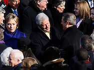 Former President Clinton and former Vice President Gore at the swearing in ceremony during the Inauguration on January 20, 2009.  Photograph:  Dennis Brack