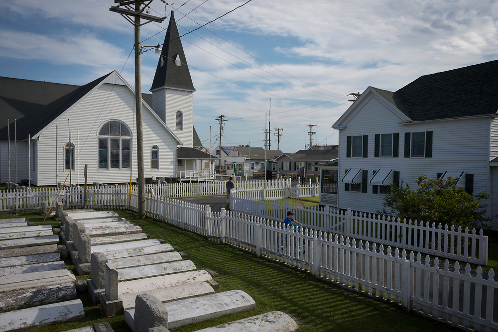 August 4, 2017 - Tangier Island, VA - Tangier Island community and history are always present in the ubiquity of the cemeteries that are found throughout the small island.<br /> Photo by Susana Raab/Institute
