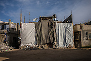 Plastic sheets used as a protection for cold an for privacy in Khan Yunis, south Gaza Strip