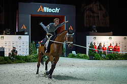 Cyril Michel, (SUI), Cyrano Nilaya CH, Vanessa Steiger - Individuals Men Compulsory Vaulting - Alltech FEI World Equestrian Games™ 2014 - Normandy, France.<br /> © Hippo Foto Team - Jon Stroud<br /> 02/09/2014