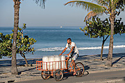 An ice delivery man peddles a cycle cart filled with ice bags past Ipanema beach and Two Brothers Mountain early morning in Rio de Janeiro, Brazil.