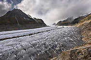 The glacier Grosser Aletschgletscher, view upstream towards the Konkordiaplatz, the Olmenhorn to the left, Valais, Switzerland