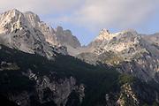 Bare limestone peaks of the Prokletije mountains above the Valbone valley. Valbone, Valbona, Albania. 04Sep15
