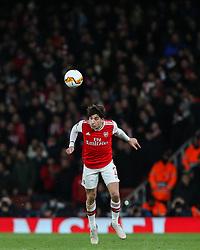 Hector Bellerin of Arsenal heads the ball - Mandatory by-line: Arron Gent/JMP - 27/02/2020 - FOOTBALL - Emirates Stadium - London, England - Arsenal v Olympiacos - UEFA Europa League Round of 32 second leg
