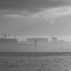 Wintery fog and mist over the River Mersey in Liverpool.