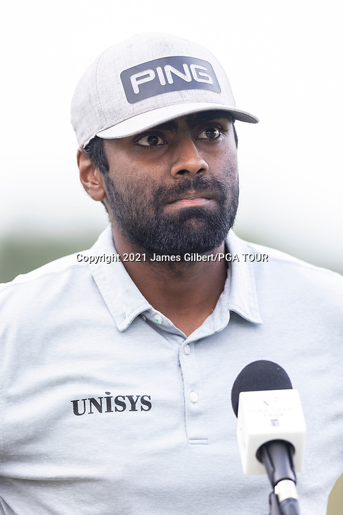 NEWBURGH, IN - SEPTEMBER 03: Sahith Theegala speaks to the media after the second round of the Korn Ferry Tour Championship presented by United Leasing and Financing at Victoria National Golf Club on September 3, 2021 in Newburgh, Indiana. (Photo by James Gilbert/PGA TOUR via Getty Images)