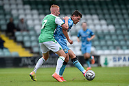 Mathew Stevens (9) of Forest Green Rovers battles for possession during the Pre-Season Friendly match between Yeovil Town and Forest Green Rovers at Huish Park, Yeovil, England on 31 July 2021.