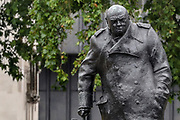 The Winston Churchill statue is seen open and cleaned in Parliament Square in central London on Thursday, June 18, 2020, prior to a visit of the French President Emmanuel Macron to London on Thursday, but monuments to Nelson Mandela and Mahatma Gandhi will stay hidden behind protective screens, after far-right protesters in London threatened they will deface them. Monuments have become major focuses of contention in demonstrations against racism and police violence. Anger against systemic levels of institutional racism has raged through the city, and worldwide; sparked following the death of George Floyd in the United States on May 25, 2020. (Photo/ Vudi Xhymshiti)