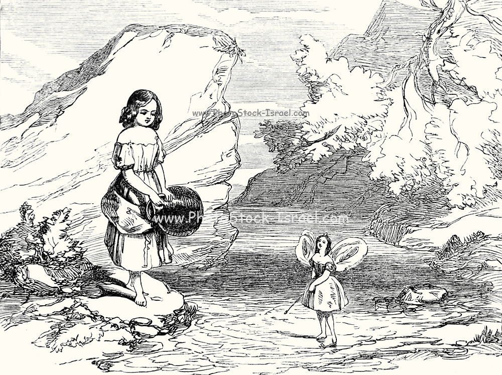 Patty and the Fairy of the Spring from Patty and her pitcher a  Fairy Tale from the book 'Fairy tales' by Forrester, Alfred Henry, 1804-1872 [Alfred Henry Forrester (10 September 1804 – 26 May 1872) was an English author, comics artist, illustrator and artist, who was also known under the pseudonym of Alfred Crowquill.