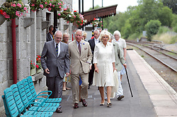 July 4, 2018 - Llandovery, United Kingdom - Image licensed to i-Images Picture Agency. 04/07/2018. Llandovery,  Wales, United Kingdom. The Prince of Wales and the Duchess of Cornwall during a visit to Llandovery Railway Station to mark the 150th anniversary of the Heart of Wales railway line in Wales, United Kingdom. (Credit Image: © Pool/i-Images via ZUMA Press)