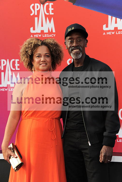 Don Cheadle and wife Bridgid Coulter at the Los Angeles premiere of 'Space Jam: A New Legacy' held at the Regal LA Live in Los Angeles on July 12, 2021.