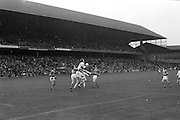 Tyrone catches the ball mid air during the All Ireland Minor Gaelic Football Final, Tyrone v Kerry in Croke Park on the 28th September 1975.