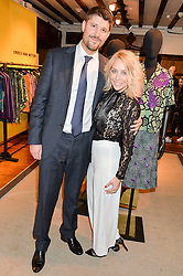 LAURA HAMILTON and and her husband ALEX GOWARD at an exclusive out of hours shopping evening 'Gifts for Goddesses' hosted by Mollie King in aid of mothers2mothers held at Liberty, Regent Street, London on 2nd March 2016.