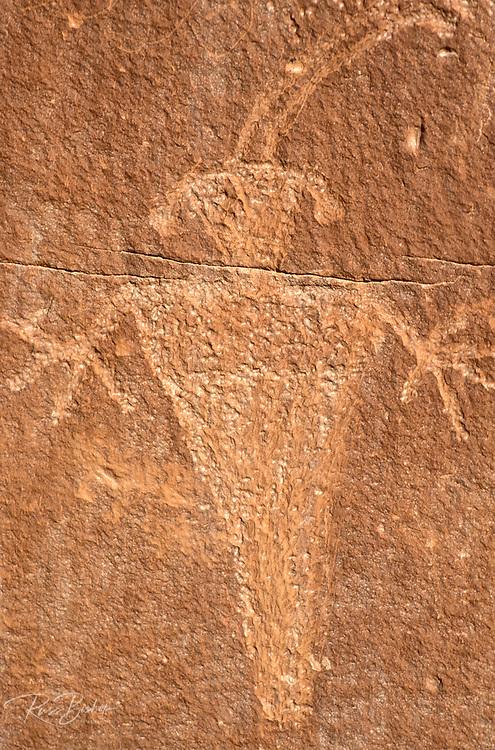 Fremont Indian petroglyph along the Fremont River, Capitol Reef National Park, Utah USA