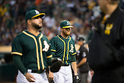 Oakland Athletics starting pitcher Paul Blackburn (58) reacts to a rough inning against the San Francisco Giants at Oakland Coliseum in Oakland, California, on July 31, 2017. (Stan Olszewski/Special to S.F. Examiner)
