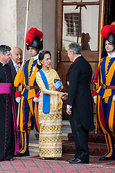 NO FRANCE - NO SWITZERLAND: May 4, 2017 : State Counsellor and Union Minister for Foreign Affairs of the Republic of the Union of Myanmar Aung San Suu Kyi is escorted as she leaves the Vatican after a private audience.
