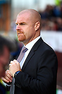 Burnley Manager Sean Dyche looks on prior to kick off. Skybet football league championship match, Burnley  v Birmingham City at Turf Moor in Burnley, Lancs on Saturday 15th August 2015.<br /> pic by Chris Stading, Andrew Orchard sports photography.