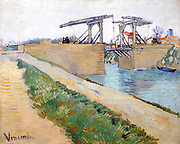 Painting of The Langlois Bridge, 1888. By Vincent van Gogh. Oil on Canvas. Painted in a colourful impasto style.