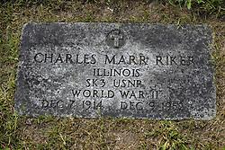 31 August 2017:   Veterans graves in Park Hill Cemetery in eastern McLean County.<br /> <br /> Charles Marr Riker  Illinois SK3 USNR World War II  Dec 7 1914  Dec 9 1952