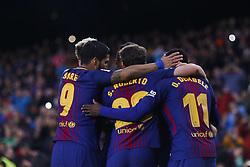 January 7, 2018 - Barcelona, Catalonia, Spain - January 7, 2017 - Camp Nou, Barcelona, Spain - LaLiga Santander- FC Barcelona v Levante UD; Leo Messi of FC Barcelona scores the 1-0. (Credit Image: © Eric Alonso via ZUMA Wire)