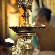 Decorated lamp (Nila Vilakku) during a South Indian Traditional Tamil Brahmin Wedding