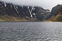 Heimredalsvatnet lake on the northern Lofoten coast near Eggum, Vestvagoy, Lofoten Islands, Norway