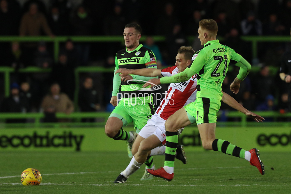 Lee Collins, Danny Wright and Mark Roberts during the EFL Sky Bet League 2 match between Forest Green Rovers and Cheltenham Town at the New Lawn, Forest Green, United Kingdom on 25 November 2017. Photo by Antony Thompson.